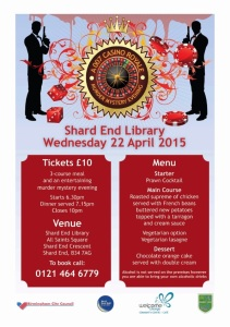 Murder Mystery Dinner at Shard End Library.