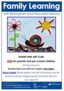Family Learning Fun at Shard End Library.